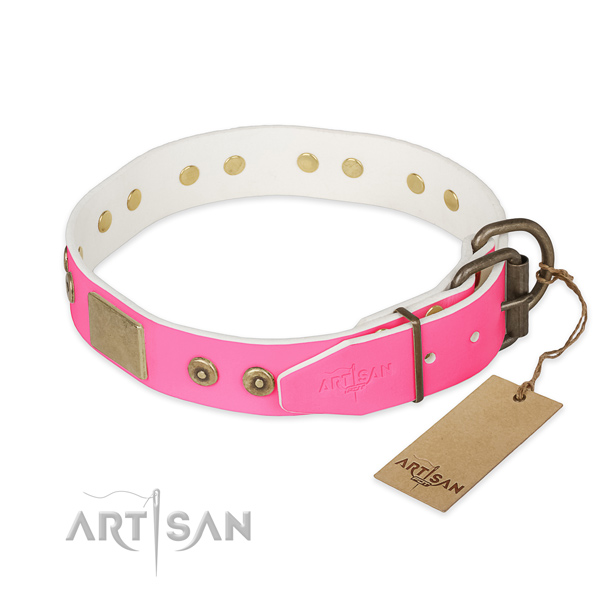 Reliable studs on comfy wearing dog collar