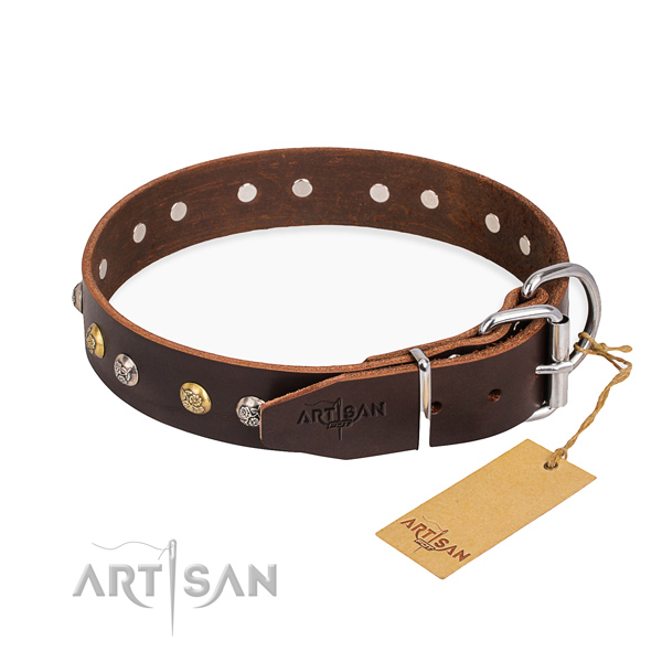 Quality full grain leather dog collar made for comfy wearing