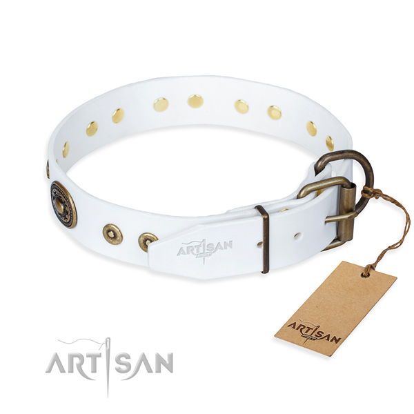 Full grain genuine leather dog collar made of high quality material with rust-proof adornments