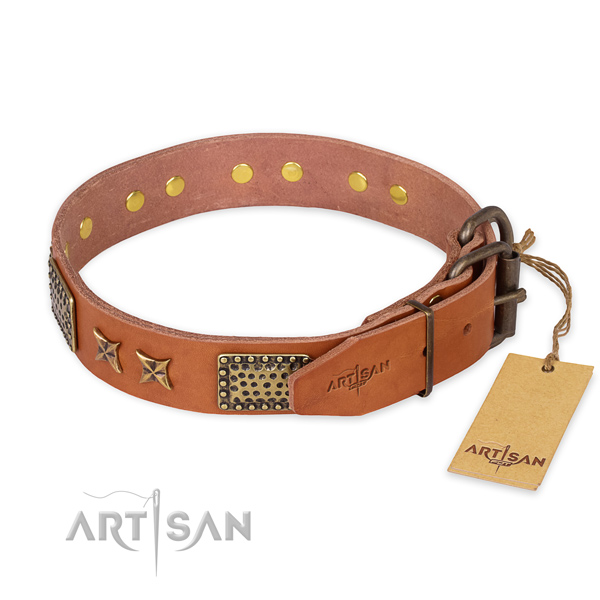 Rust-proof fittings on natural genuine leather collar for your stylish dog