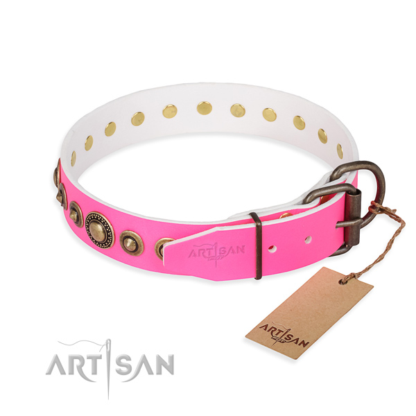 Best quality natural genuine leather dog collar handcrafted for stylish walking