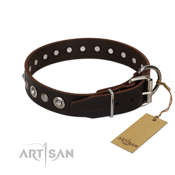 Strong natural leather dog collar with stylish decorations