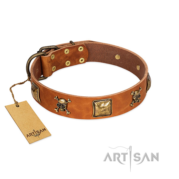 Stylish design genuine leather dog collar with corrosion proof studs