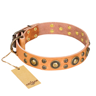 """Sophisticated Glamor"" FDT Artisan Leather Golden Retriever Collar with Fancy Old Bronze-like Plated Decorations"