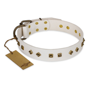 """Snow Cloud"" FDT Artisan White Leather Golden Retriever Collar with Square and Rhomb Studs"
