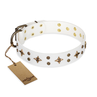 """Bright Stars"" FDT Artisan White Leather Golden Retriever Collar with Old Bronze Look Decorations"