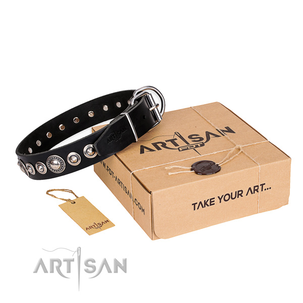 Quality genuine leather dog collar