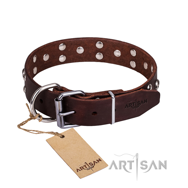 Everyday use dog collar of high quality full grain genuine leather with embellishments