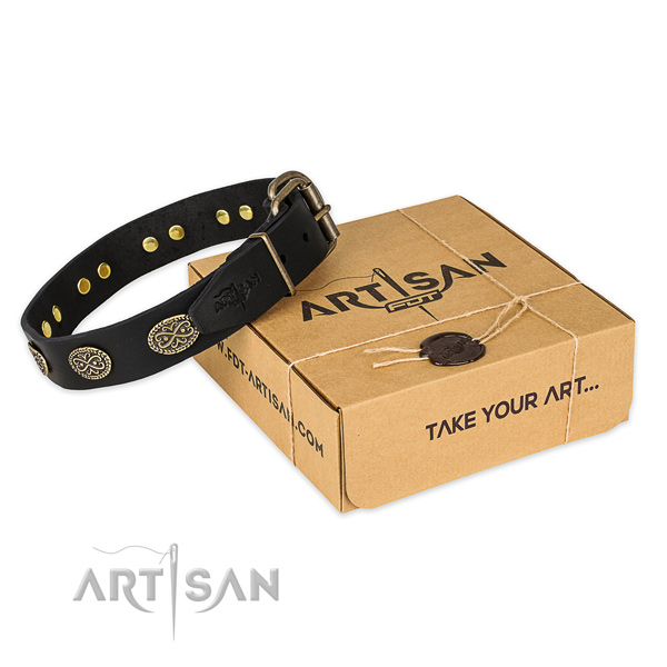 Durable D-ring on full grain natural leather collar for your lovely four-legged friend