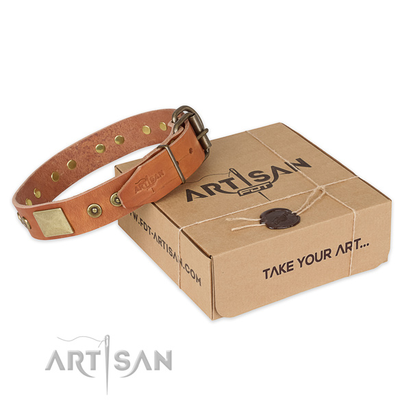 Corrosion proof hardware on full grain natural leather dog collar for comfortable wearing