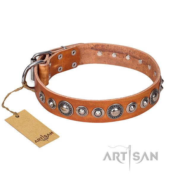 Full grain leather dog collar made of top rate material with corrosion resistant D-ring