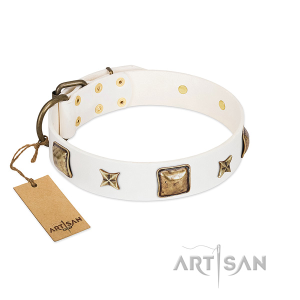 Amazing natural genuine leather dog collar for comfortable wearing