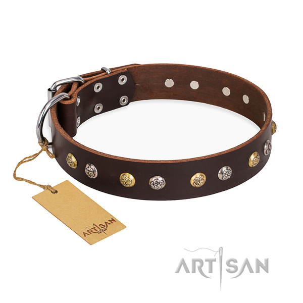 Comfortable wearing embellished dog collar with rust-proof buckle
