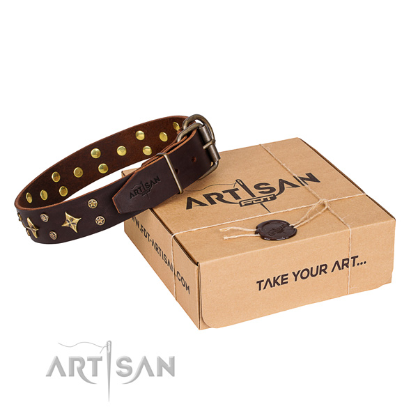 Easy wearing dog collar of durable full grain leather with studs