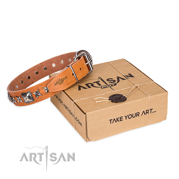 Comfortable wearing dog collar of durable full grain leather with adornments