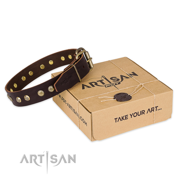 Rust-proof hardware on genuine leather collar for your impressive doggie