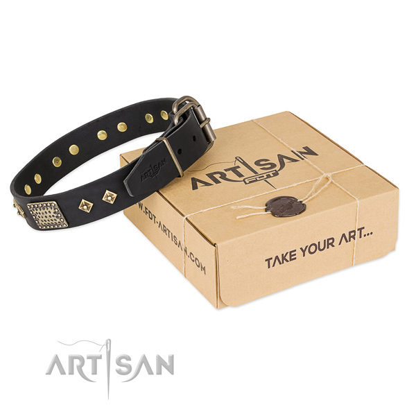 Exquisite full grain leather collar for your stylish four-legged friend