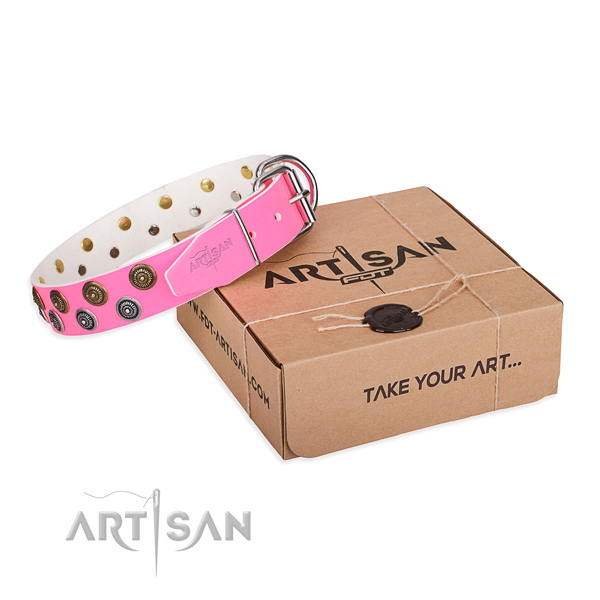 Handy use dog collar of fine quality natural leather with embellishments