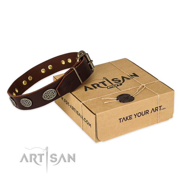 Strong fittings on natural genuine leather collar for your attractive dog