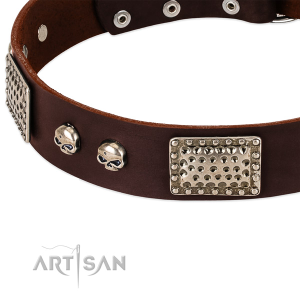 Rust resistant fittings on full grain leather dog collar for your dog