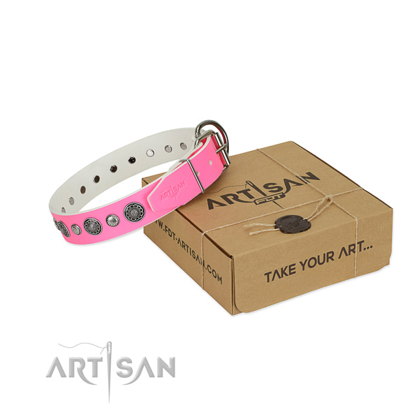 Full grain genuine leather collar with durable fittings for your stylish four-legged friend