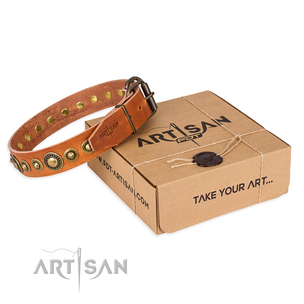 Best quality full grain natural leather dog collar handcrafted for daily use