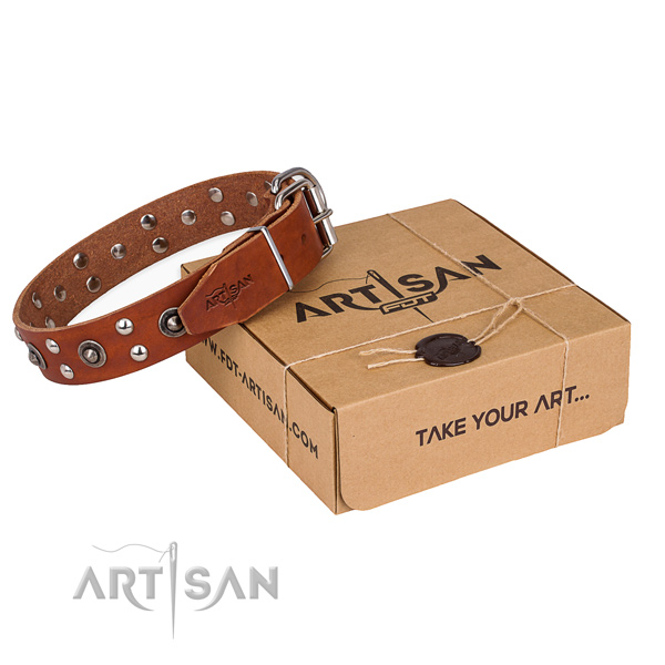 Strong hardware on genuine leather collar for your impressive doggie