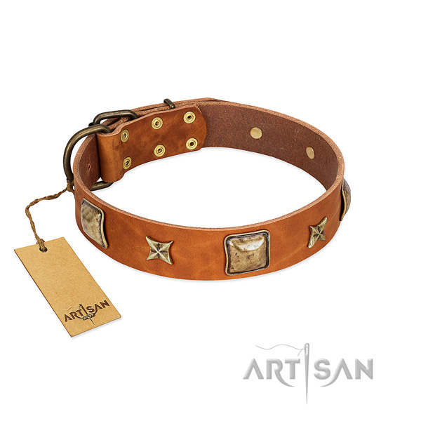 Remarkable full grain natural leather collar for your doggie