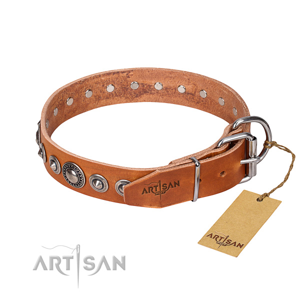 Leather dog collar made of quality material with corrosion resistant adornments