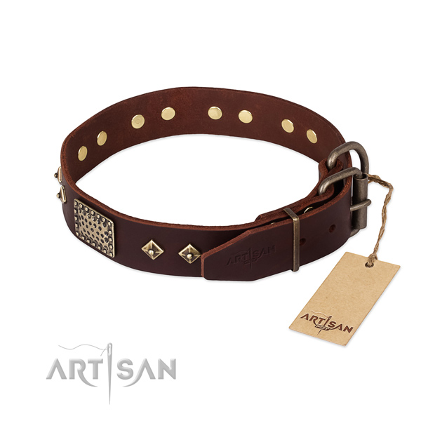 Genuine leather dog collar with rust resistant traditional buckle and decorations