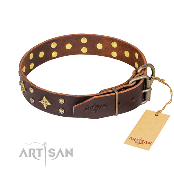 Daily walking decorated dog collar of best quality full grain natural leather