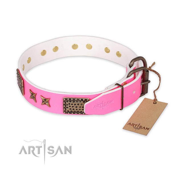 Corrosion proof D-ring on leather collar for your handsome four-legged friend