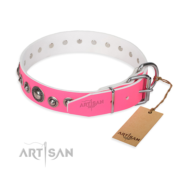 Full grain genuine leather dog collar made of gentle to touch material with corrosion proof adornments