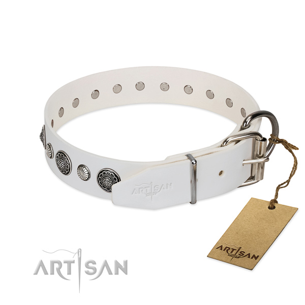 Soft Full grain natural leather dog collar with corrosion proof hardware