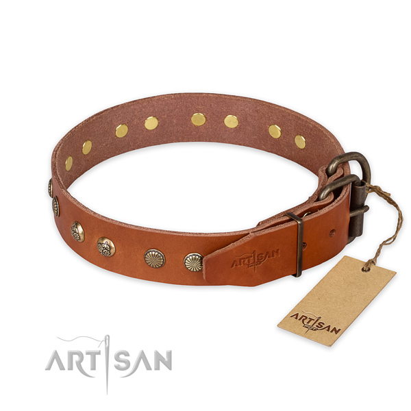 Durable traditional buckle on full grain leather collar for your beautiful canine