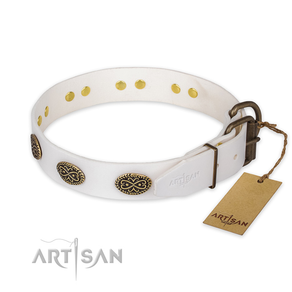 Strong hardware on genuine leather collar for daily walking your pet