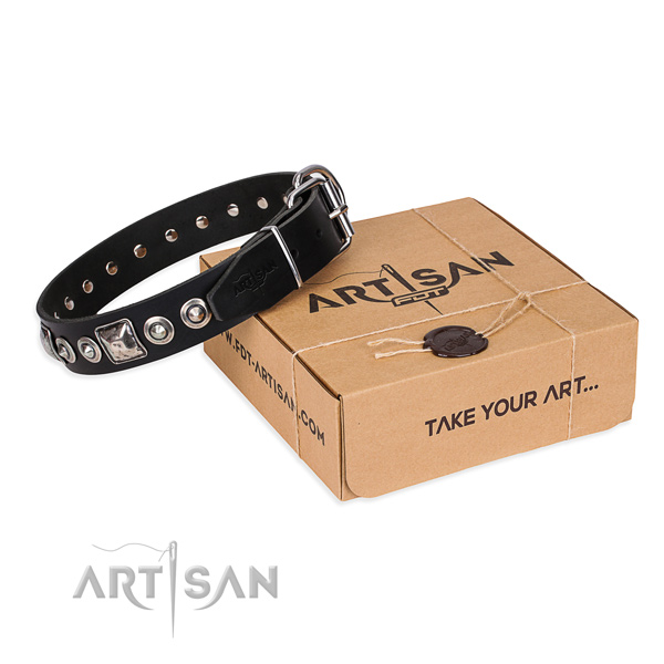 Full grain leather dog collar made of gentle to touch material with corrosion proof D-ring