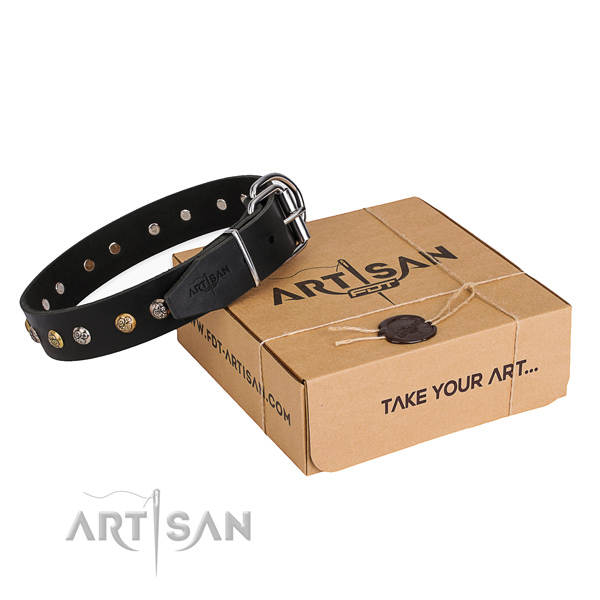 Strong full grain genuine leather dog collar handmade for easy wearing