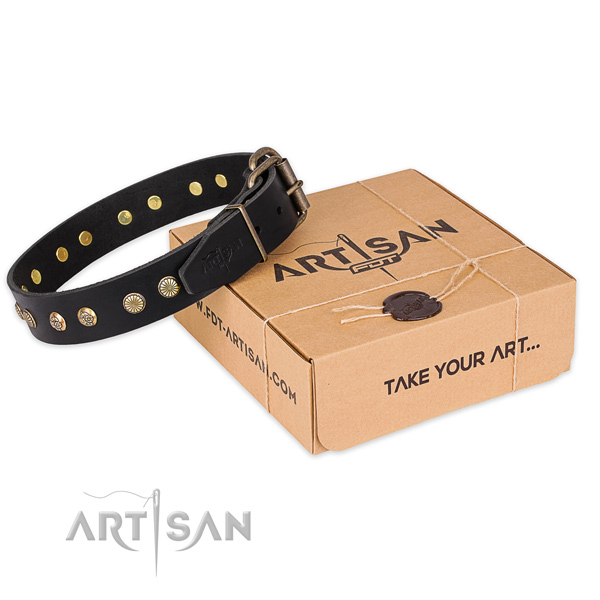 Corrosion resistant D-ring on full grain genuine leather collar for your beautiful four-legged friend
