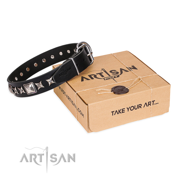 Handy use dog collar of best quality leather with decorations