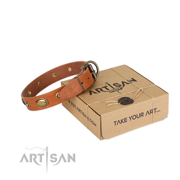 Decorated genuine leather collar for your lovely dog