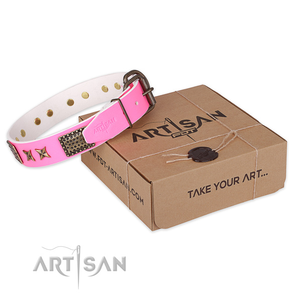 Strong buckle on natural genuine leather collar for your impressive pet