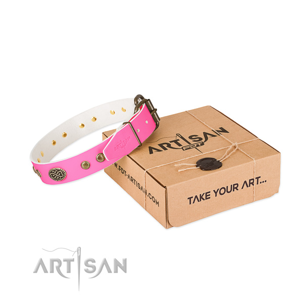 Strong decorations on natural leather dog collar for your doggie