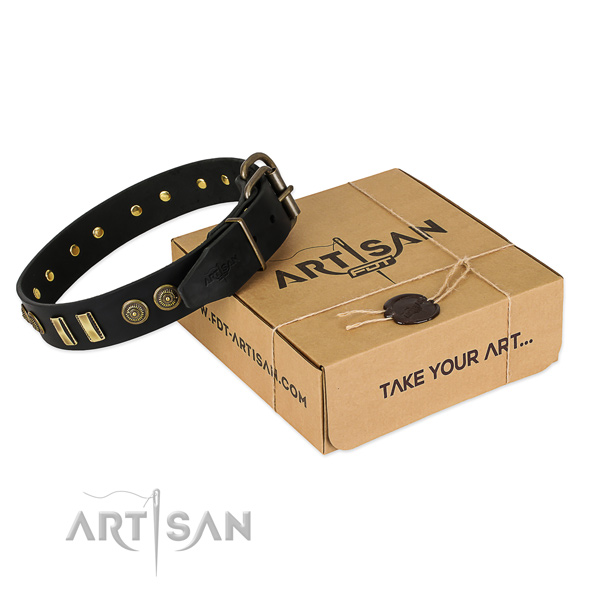 Strong buckle on full grain leather dog collar for your pet