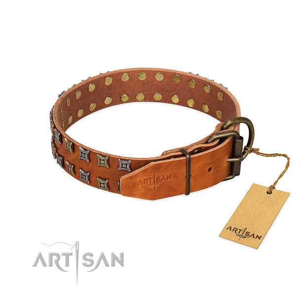 Strong natural leather dog collar handmade for your four-legged friend