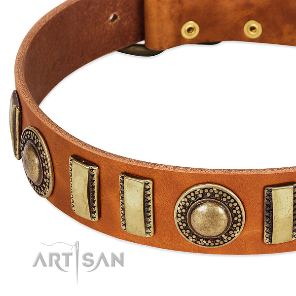 Quality full grain genuine leather dog collar with strong buckle