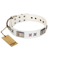 """Bling-Bling"" FDT Artisan White Leather Golden Retriever Collar with Sparkling Stars and Plates"