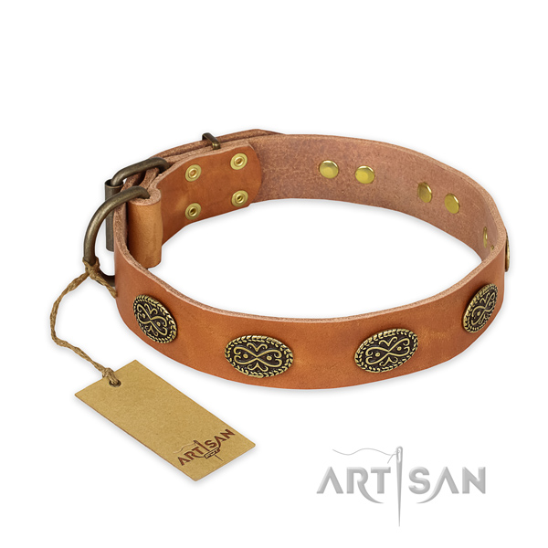 Adorned natural genuine leather dog collar with corrosion proof buckle