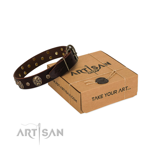 Rust resistant decorations on full grain natural leather dog collar for your pet