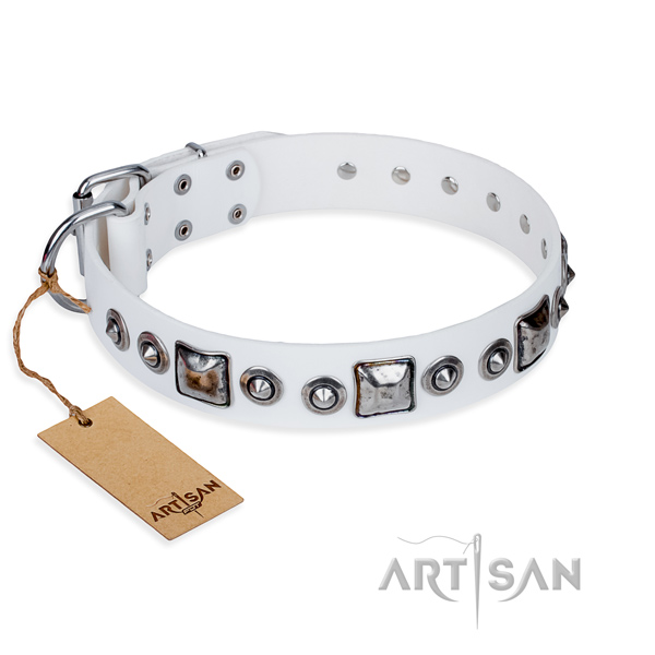 Full grain genuine leather dog collar made of quality material with durable D-ring